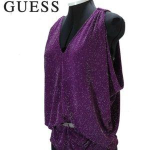 GUESS Unique Purple Sparkle BLOUSE TOP SHIRT SizeM